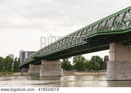 Bratislava. Slovakia. Spring 2019. One Of The Bridges Of The City Of Bratislava. Stari Railway Bridg