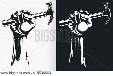 Silhouette Hand Holding Hammer Stencil Clipart Vector Drawing