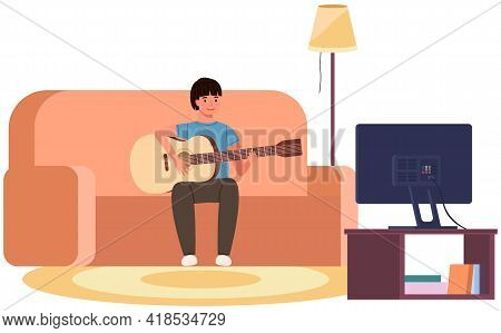 Male Character Playing Guitar At Home. Guy Is Sitting On Couch With Musical Instrument. Young Person
