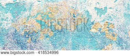 Art Abstract acrylic and watercolor relief smear blot painting with gold glitter. Blue color texture horizontal long background.