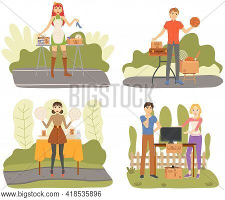 Set Of Illustration About Selling On Garage Sales In Sunny Day. Event For Sale Of Used Things For Lo