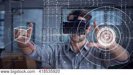 Composition of data processing and scope scanning over man wearing vr headset touching screen. global connection, virtual reality and technology concept digitally generated image.