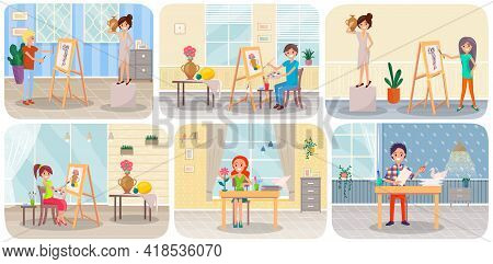 Artist Studio Concept Scenes Set With Creative Workshop Room With Canvas, Paints, Brushes, Easel And