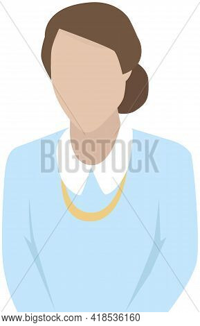 Businesswoman Wearing Blue Blouse And Beads. Vector Illustration Of Woman In Office Outfit Isolated