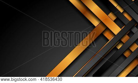 Black and golden smooth stripes abstract corporate background