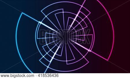Glowing neon gear abstract technology background