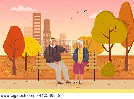 Elderly Couple Spend Time In Autumn Park Sitting On Bench. Romance Of Old-aged People On Date. Chara