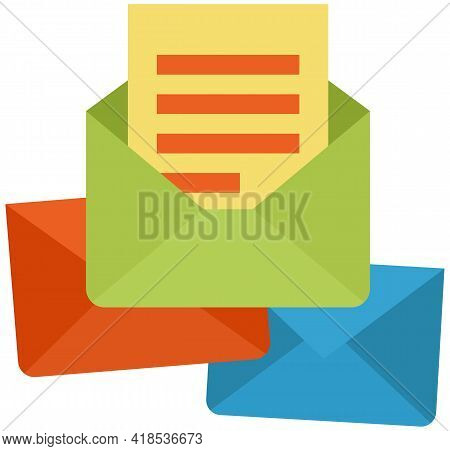 Web Vector Icons Closed Envelope And Envelope With Letter. Message Paper With Info, Card Corresponde