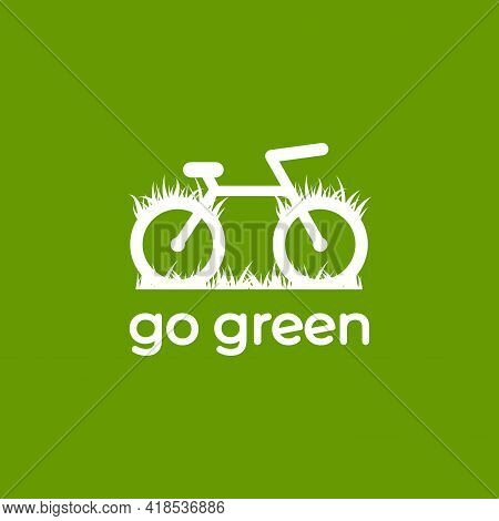 Go Green Logo. Bicycle With Grass. Flat Bike Logo Isolated On Green. Vector Illustration. Ecology Ca