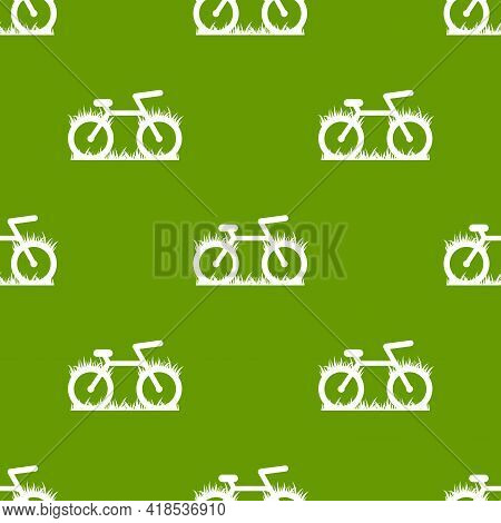 Green Seamless Background With Bicycles And Grass. Flat Bike Ornament On White. Vector Illustration.