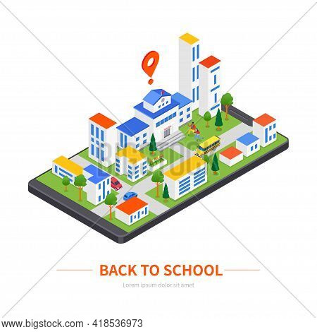 Back To School - Modern Colorful Isometric Illustration