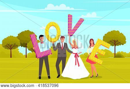 Newlyweds With Friends Pose For Photo In City Garden. Romantic Day, Smiling Lovers Outdoors. Wedding