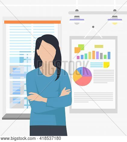 Woman Office Worker Analyzes Indicators On Presentation With Charts, Presents Financial Statement. P
