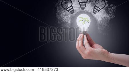 Composition of hand holding lit light bulb with plant inside and light bulbs on black background. lightbulb moment, electricity, inventions and technology concept digitally generated image.