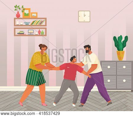 Problems And Conflict In Family, Fight And Arguing, Quarreling Over Child In Family. Cartoon Angry P