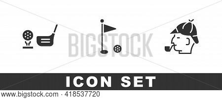 Set Golf Club With Ball On Tee, Flag And Sherlock Holmes Icon. Vector