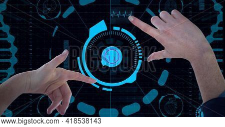 Composition of two hands touching virtual screen with scope scanning and data processing. global connections, data processing and technology concept digitally generated image.