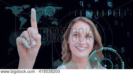 Composition of woman touching virtual screen with scope scanning, world map and data processing. global connections, data processing and technology concept digitally generated image.