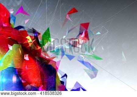 Abstract illustration of multicolor geometric polygonal shapes against grey background. background with abstract texture with abstract shapes concept