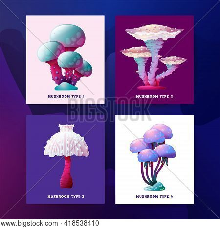 Postcards With Colorful Fantasy Magic Mushrooms Vector Design. Shine Glowing Fungus And Unrealistic