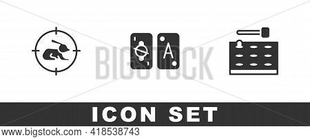 Set Hunt On Rabbit With Crosshairs, Tarot Cards And Arcade Game Machine Icon. Vector