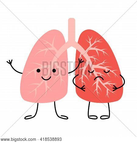 Lungs Happy Healthy And Sad Diseased Sick Characters. Respiratory System. Patient With Pneumonia, As