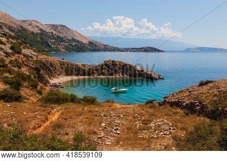 View Of The Stara Baska Coast During The Summer Time, Krk Island. Croatia