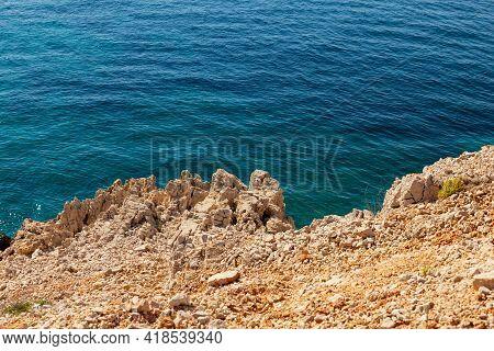 View Of The Stara Baska Cliff, Krk Island. Croatia