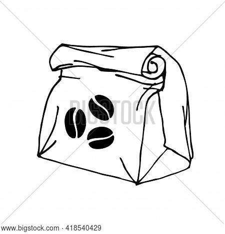 Environmentally Friendly Paper Bag With Coffee Beans. Group Of Beans, Caffeine Symbol. Paper Bag Pac