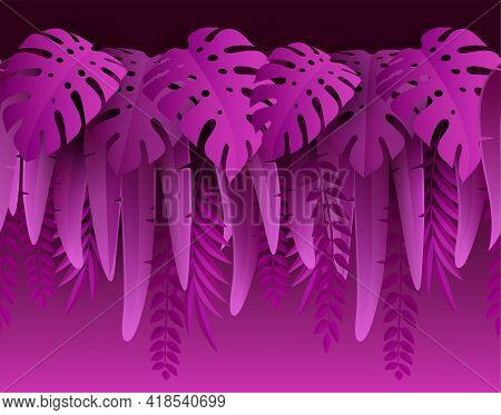 Hot Summer Tropical Leaves. Paper Cut Style. Monstera And Palm Leaf. Tropic Border. Vector Illustrat