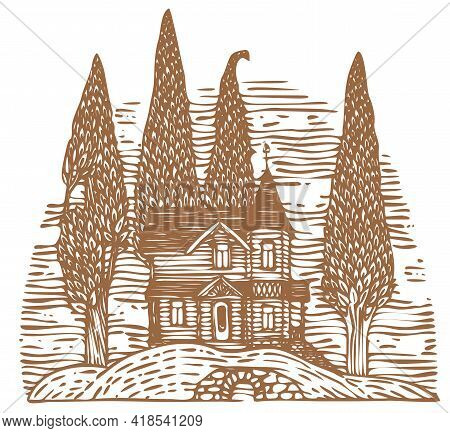 Brown Contour Drawing Of A Log Country Two-story House And Slender Trees On A Hill. Decorative Illus