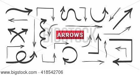 Arrows. Hand Drawn Arrows. Doodle Curved Arrow. Vector Illustration