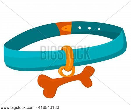 Stylish Collar For Pets. Collar With A Bone For Cats And Dogs. Blue Collar For Dogs With A Keychain