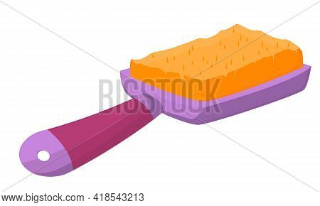Comb Isolated On White Background. Brush With A Handle In Purple. Comb For Pets. Vector Illustration