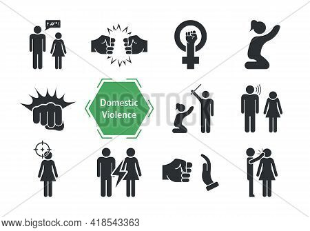 Domestic Violence Icons Set. Domestic Abuse Icons. Set Of Family Violence And Discrimination Woman.