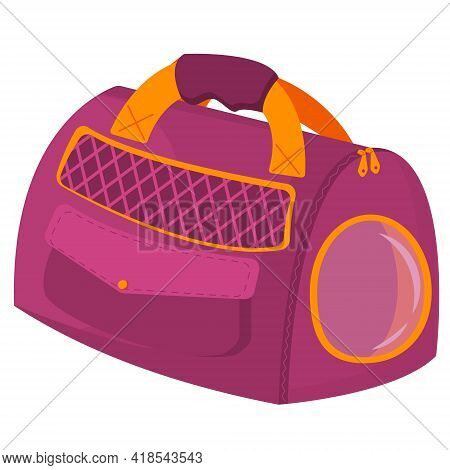 Stylish Bag For Carrying Pets. Purple Carrying Bag With Yellow Handles And A Window On A White Backg