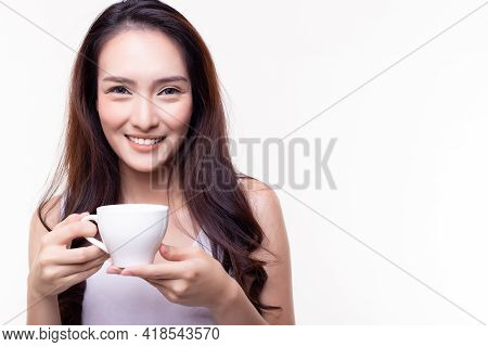 Portrait Smiling Asian Young Woman Looking At Camera Stand Over Isolated On White Background Happy F