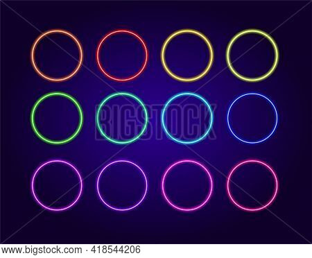 3d Neon Colored Circles For Decoration Design. Business Card. Blue Color.a Set Of Isolated Colorful