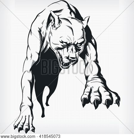 Silhouette Jumping Aggressive Pitbull Bog Stencil Front View Drawing