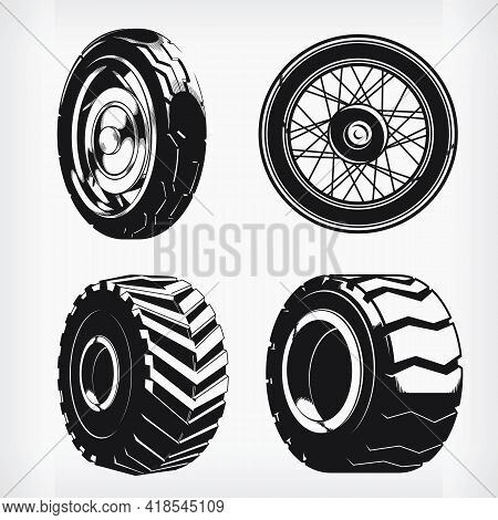 Silhouette Motorcycle Wheels Car Tires Stencil Vector Drawing