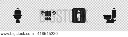Set Toilet Bowl, Towel On A Hanger, Male Toilet And Icon. Vector