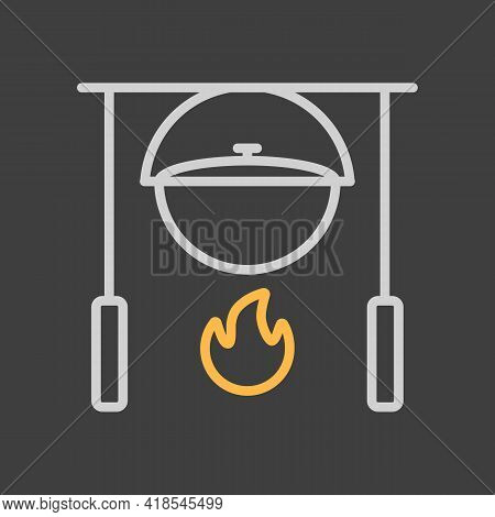 Camping Pot Over A Bonfire Vector Icon On Dark Background. Hiking Sign. Graph Symbol For Travel And