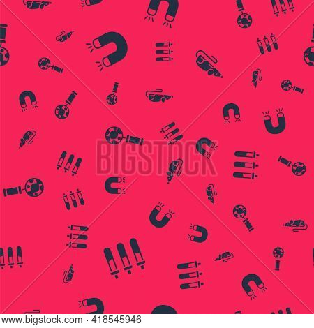 Set Reagent Bottle, Magnet, Dna Research, Search And Experimental Mouse On Seamless Pattern. Vector