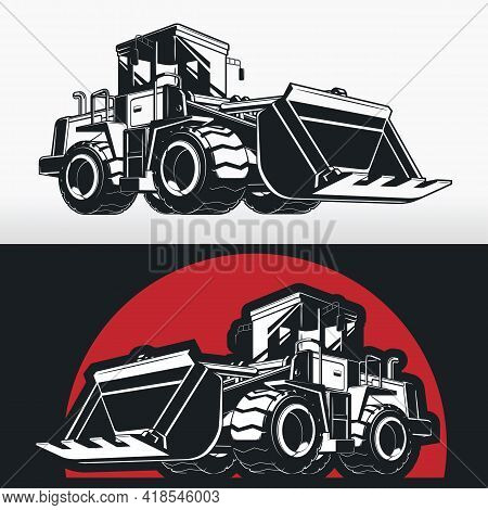 Silhouette Bulldozer Earthmover Construction Heavy Machinery Stencil