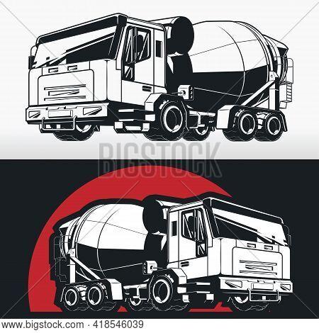 Silhouette Concrete Mixer Cement Truck Construction Vehicle Stencil