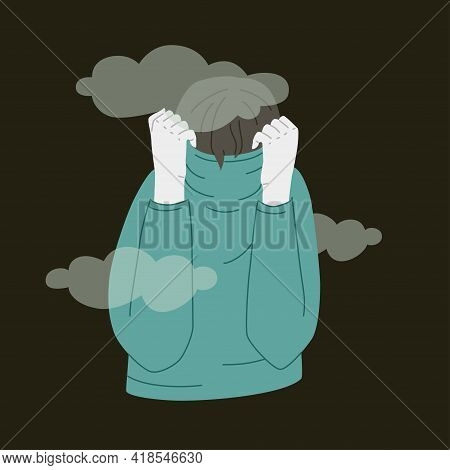 Depressed Person Hides Face In Sweater. Vector Illustration Of Sad Human Over Black Background. Ment