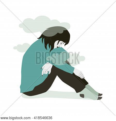 Sad Woman In Depression. Vector Illustration Of Sad Human Over White Background. Mental Health Issue