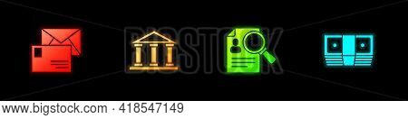 Set Envelope, Courthouse Building, Paper Analysis Magnifying And Bribe Money Cash Icon. Vector