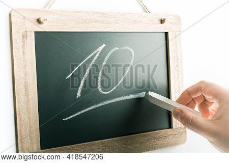Number 10 Handwritten With Chalk On A Blackboard