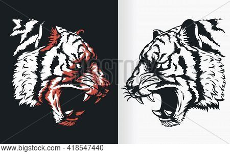 Silhouette Tiger Head Roaring Sideview Stencil Vector Drawing